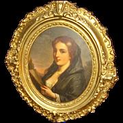 German School Oil On Copper Woman With Fan
