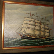 SALE Painting old Masted Ship Oil On Canvas