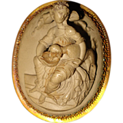 SALE High Relief Antique Lava Cameo
