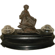 SALE Antique French Bronze Figural Inkwell