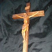 SALE Vintage Hand Carved Wooden Crucifix