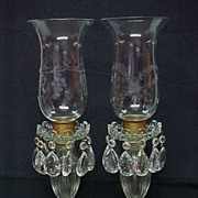 SALE Art Deco Etched Crystal Luster Lamps