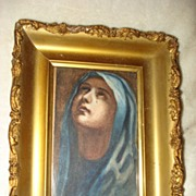 SALE Reverse Painting On Glass of The Madonna