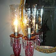 Czechoslovakian Cranberry Hurricane Lamps