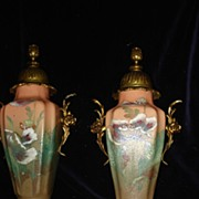 SALE French Hand Painted Ormolu Poppy Urns c19th
