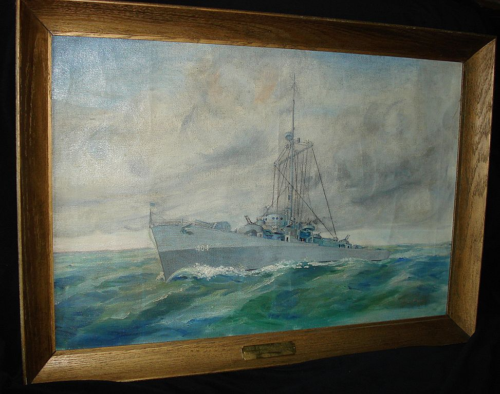 Large Painting of Battleship Destroyer 1944 USS Eversole De 404