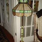 Vintage Rare Slag and Marble Pole Lamp c1920