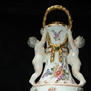 Sitzendorf Hand Painted Cherub Urn