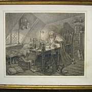 SALE 19th Century Sketch Of Alchemist in Laboratory