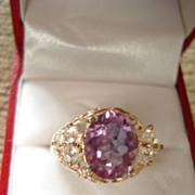 Vintage Amethyst and White Topaz Sterling Silver Ring