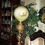 Large Ornate Juno Cherub Banquet Lamp