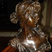 SALE Bronze Bust of Woman signed