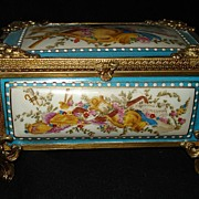 SALE French Porcelain Ormolu Trinket Box