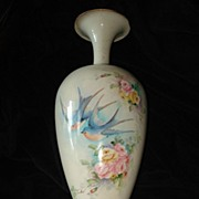 Belleek Artist Signed Rare  Bluebird and Roses Vase