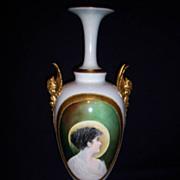 Large Rare  Belleek Portrait Vase