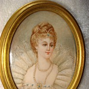 Miniature French  Portrait Of Maria De Medici