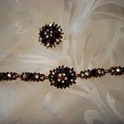 SALE Vintage Bohemian Garnet and Crystal Bracelet
