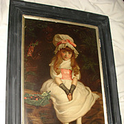 Antique Lithograph Portrait Of Little Girl c1879