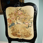 Victorian Dove Needlepoint Fireplace Screen c19th