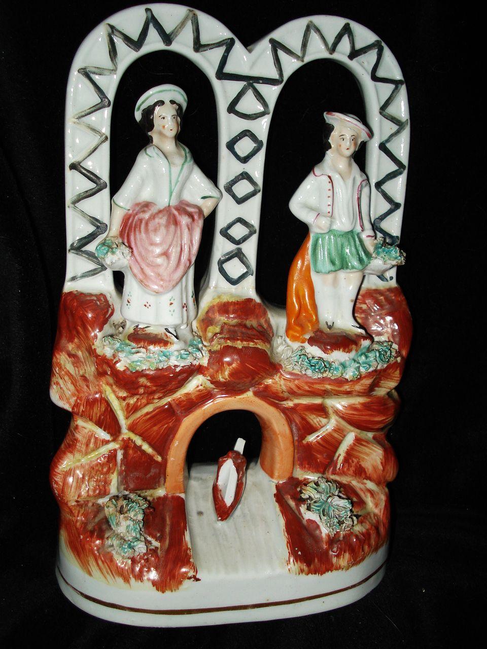 English Staffordshire Figurine Man and Woman Over Bridge