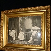 """SALE Black and White Print """"Dancing Lessons"""" Wood Gilt Gesso Frame c1900"""