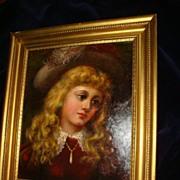 Oil Painting Of Scottish Lass In Wooden Gilt Frame
