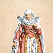French Hand Coloured Engraving Mary Queen Scot's 1787