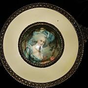 Bronze Celluloid Portrait Footed Glass Box Marie Antoinette