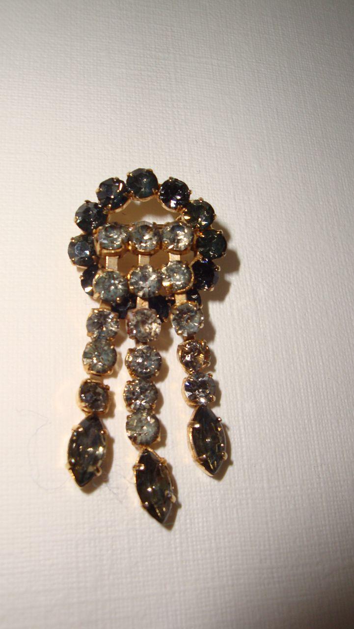 Vintage Diamante Waterfall Brooch