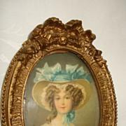 SALE Miniature Water Colour Portrait Of A Woman On Card c19th