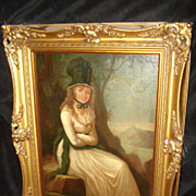 European Portrait Young Woman Oil on Canvas Painting