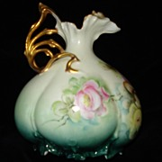 German Porcelain RS Prussia Rose Hand Painted Ewer c1907