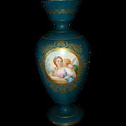 Vintage German Porcelain Hand Painted Portrait Woman and Putti