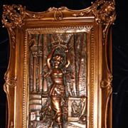Large Pair Italian Bronze Pictorial Plaques Of Dancers c1940