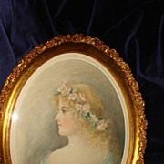 Water Colour Portrait English School Portrait Of A Woman With Floral Garland