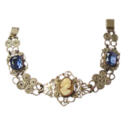 Italian Sterling Carved Cameo Bracelet c1900