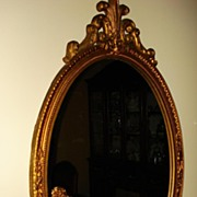 Wooden Gesso Oval French Mirror c1920