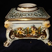 Vintage Capodimonte Ornate Inkwell Signed