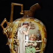 Austrian Ewer of Mother and Daughter Hand Painted