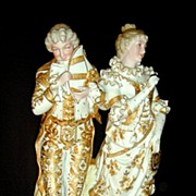 "15"" German Hutschenreuther Porcelain Gold Gilt Couple"