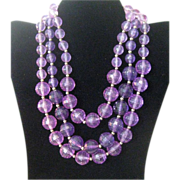 Vintage Grape Pop c1960 Lucite Bead Necklace (Book Piece)