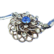 Sophisticated Sapphire Rhinestone Pendant Necklace