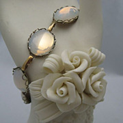 Delicate Old Bezel Set Glass Moonstone Bracelet