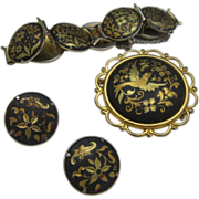 SALE Damascene Parure Brooch Bracelet Earrings