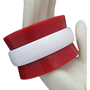 SALE Extra Wide Mid-Century Celluloid Red and White Bracelet