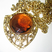 Huge Topaz Pendant Necklace Fleur de Lis Framed