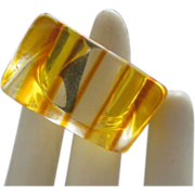 New Old Stock Stripe Lucite Ring 6 1/2 Mod 1960's