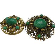 Set of Two Authentic Czech Peking Glass Brooches