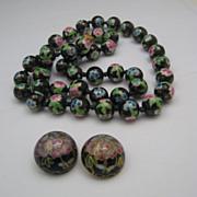 Plum Blossom Cloisonné necklace earrings 25 inches