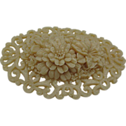 Large Ivory Celluloid Flora Brooch c1940 2 n3/4 inches